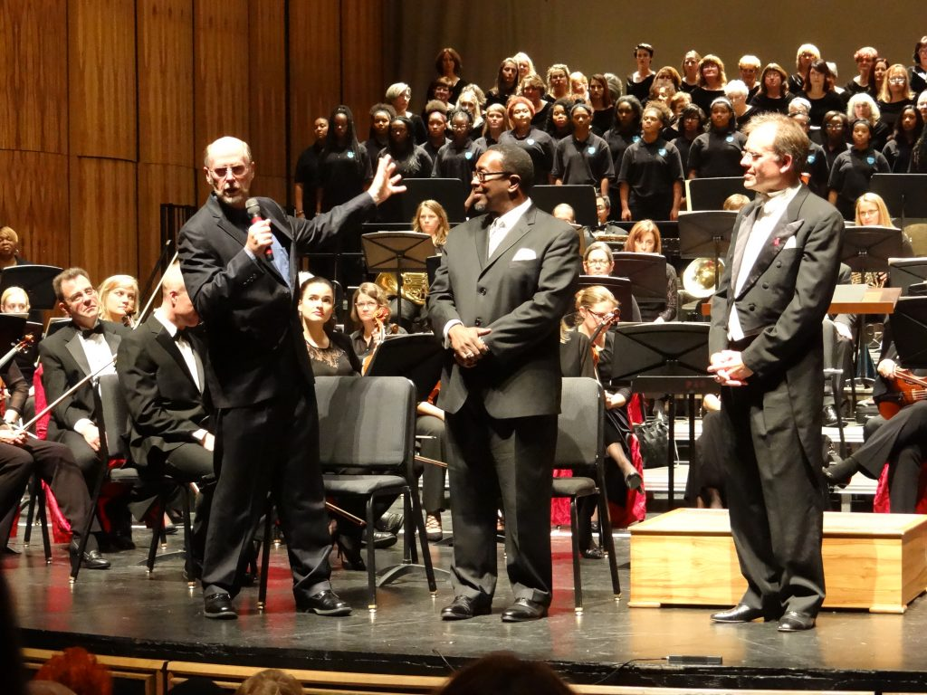Composer Jesse Ayers addresses audience at premiere of Akron Symphony spirituals commission
